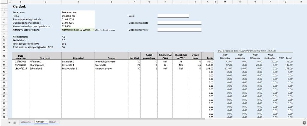 Autogear Excel-Kjørebok